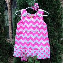 Fashion Sundress for little girl cute pink chevron casual dress party children girls woman latest dress designs