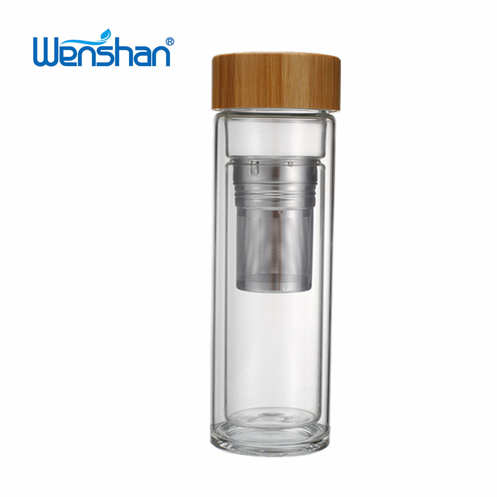 Promotional custom bamboo lid double wall glass tea infuser water bottle