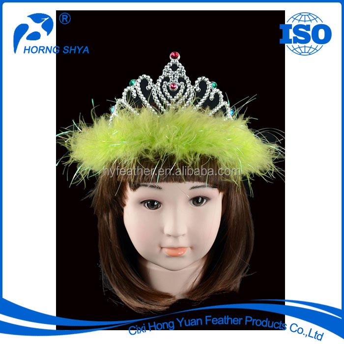 Trading Wholesale Party And Performance Show Using Handmade Green Customized Tiaras Feather Crown
