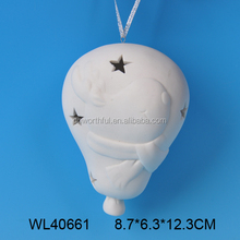 Hot selling white porcelain ceramic hanging christmas lantern with reindeer pattern