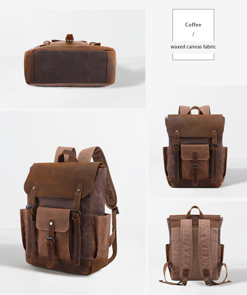 T0011 Waxed canvas backpack crazy horse trim rusk backpack men's backpack