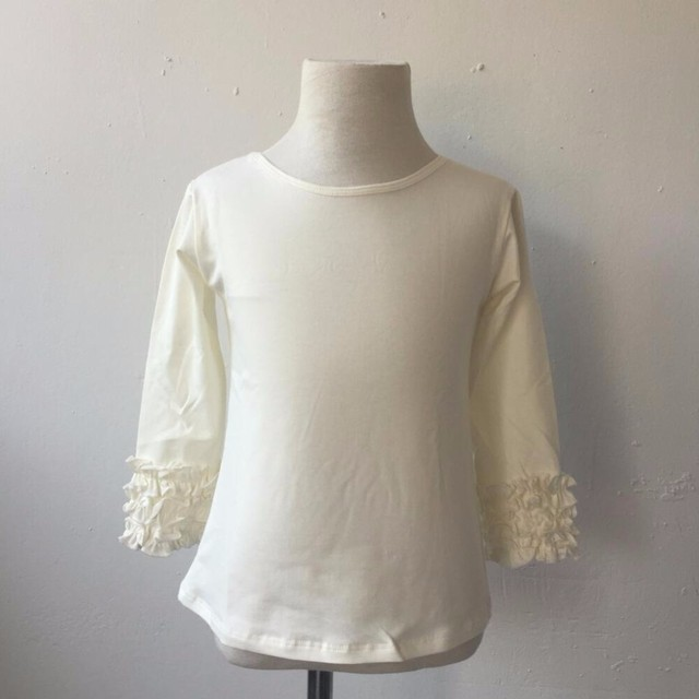 6c4e04324c5 Casual Style white t shirts cotton blank baby girls ruffle tops long sleeve  t shirt newborn