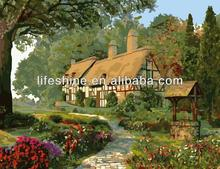 Fabric painting designs scenery art,paint by numbers on canvas