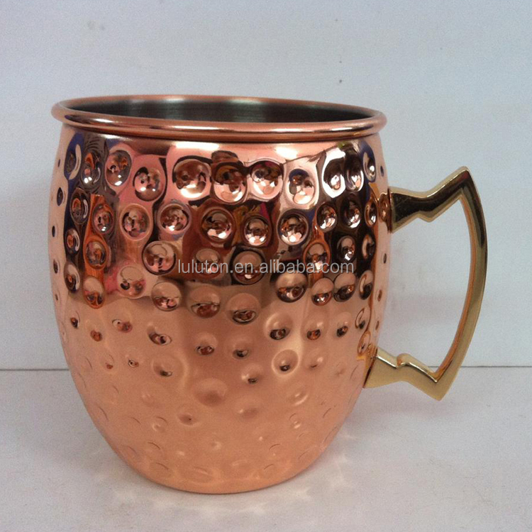 Copper moscow mule mug 16oz Hammer Texture mug copper mug for vodka and moscow mule