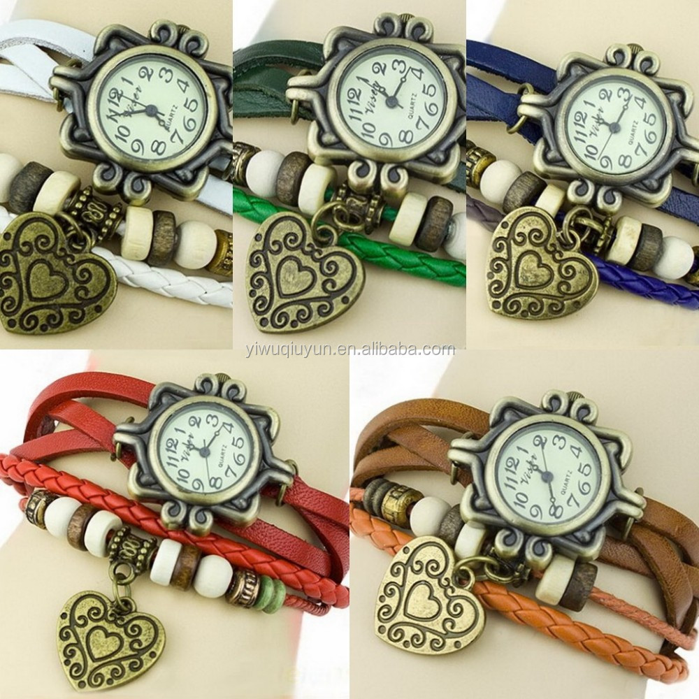 In Stock Women's Ladies Girls Retro Xmas Party Brithday Gift Heart Dress Quartz Wrist Hand Charm Leather Cord Bracelet Watch