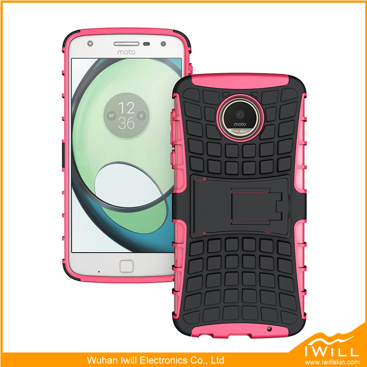 TPU PC Hard Back Kickstand Case Cover For Moto Z Play Shell mobile accessories