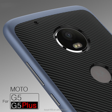 Hot sale Carbon fiber 2in1pc frame tpu back cover for MOTO G5 CASE electroplating paint for moto g5 plus case Koolife armor