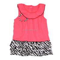 2014 new summer baby dress casual style sleeveless dress top quality zebra layers dress