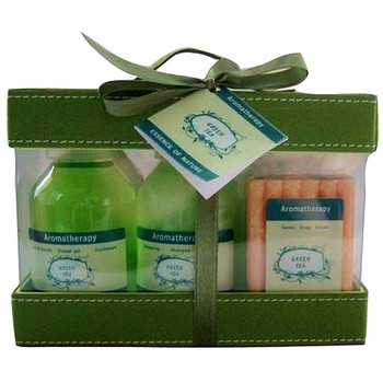 OEM wholesale top-grade packaging Elegancy green series bath gift set