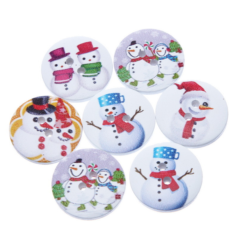 2015 New Style 100PCs Mixed Wooden Buttons Christmas Snowman Pattern Fit Sewing and Scrapbook