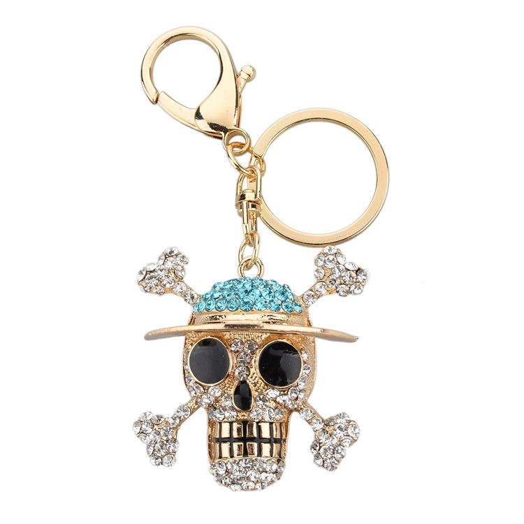 Newest promotional business gift 2014 wholesale halloween skull keychain,key ring