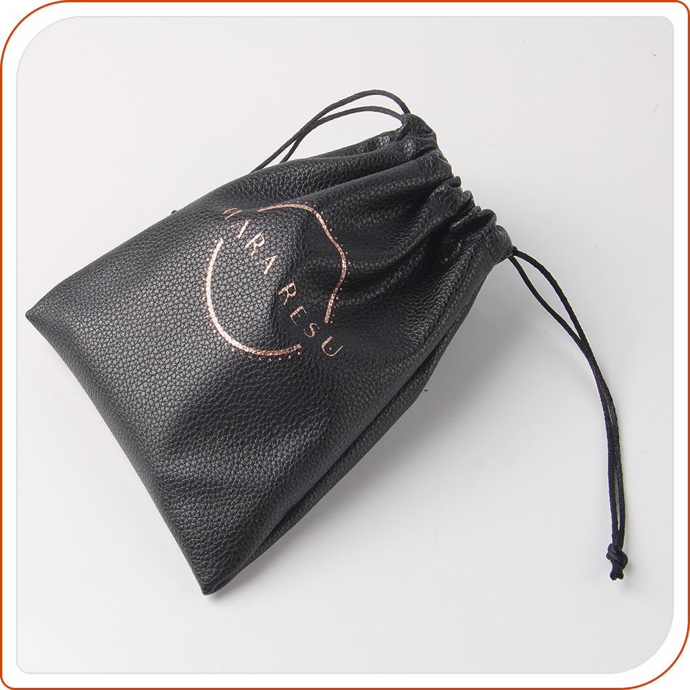 Luxury small PU Leather Drawstring Jewelry Pouch bag,leather gift bag for jewelry with golden logo