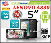 "1GB RAM/4GB ROM LENOVO A830 Android 4.2 8MP 5"" IPS Touch Screen Quad Core 3G MTK6589 1.2GHz WiFi GPS Smartphone- Black"