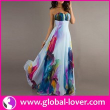 Paypal accepted womans sleeveless floral long chiffon prom dresses