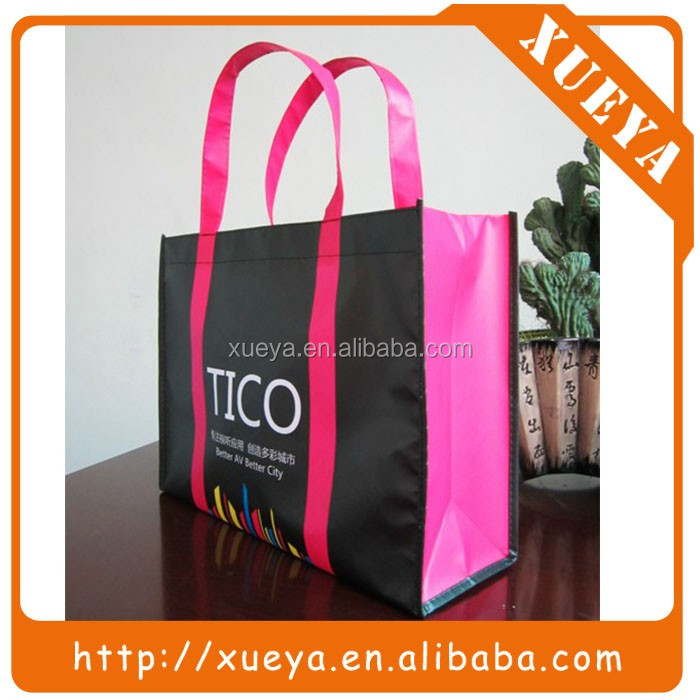 Custom made printed reusable shopping bag with long handle