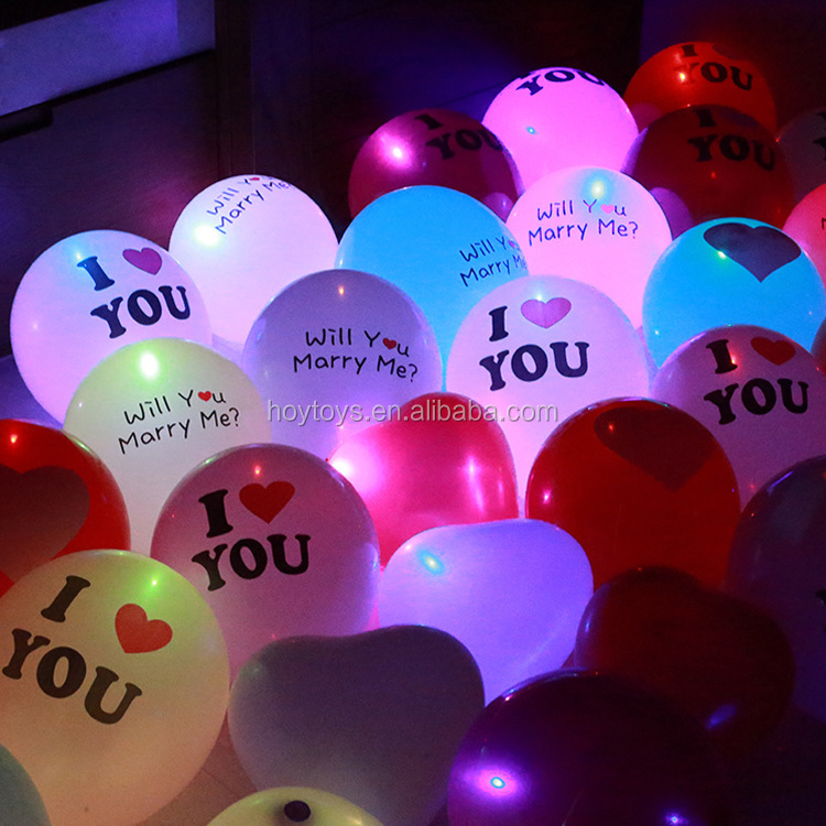 2017 LED latex Newest party printed valentines day decoration heart LED balloon for used wedding