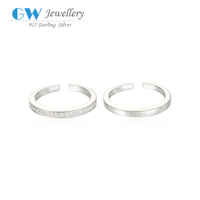 Simple Design Love Stamp 925 Silver Ring With Inlaying Diamond Silver Plain Couple Rings