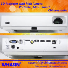 Top quality 1280x800pixels active shutter 3D Full HD led dlp mini projector with 20000:1 contrast ratio 3800lumens