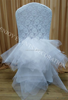 YHC#127 lace chair back with fancy tulle skirt-polyester banquet wedding wholesale cheap chiavari chair cover