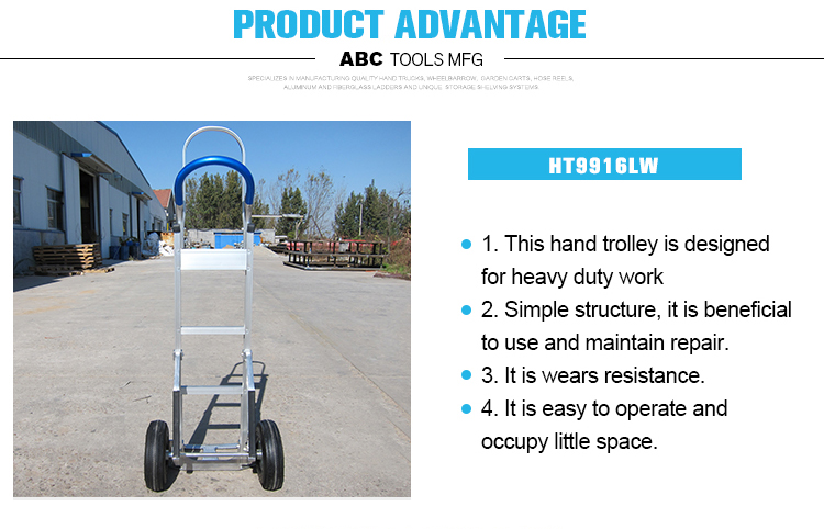 Industrial double wheel hand metal trolley with competitive price