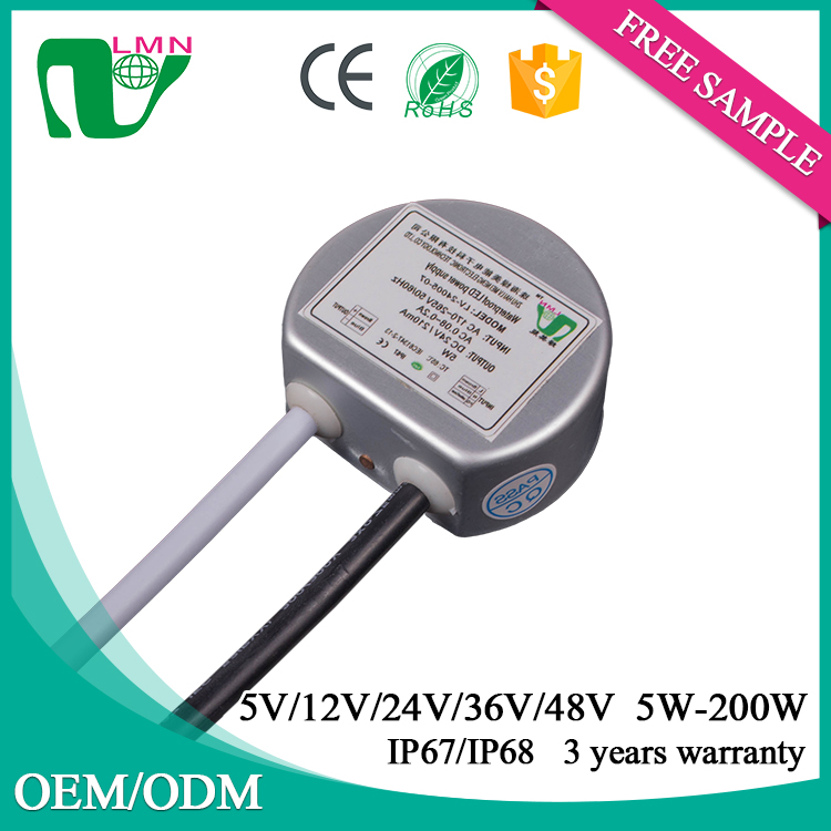 Round shape 24V 5W Constant Voltage Waterproof LED driver IP67