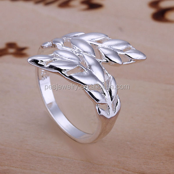 Rhodium Plated On Solid Copper Ring US SIZE 8 Gift Antiallergic,leaf ring(PES6-842)