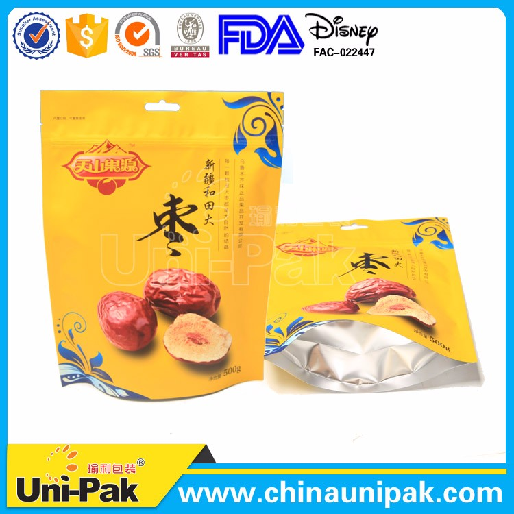 Flexible ziplock packing pouch customize stand up bag