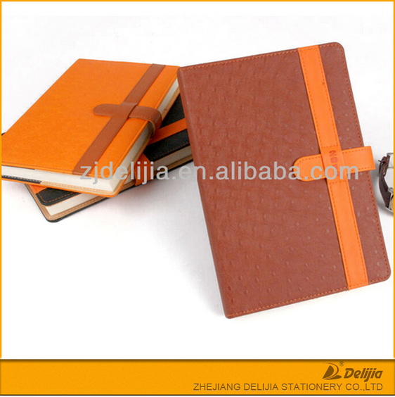 custom design a5 size perfect bound soft cover PU leather note book with elastic closure