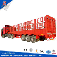 high quality 3 Axle Mechanical Suspension Double tires , Wood Floor Fence / Grid / Stake side wall semi trailer for sale