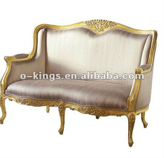 Golden frame wooden hotel lobby sofa