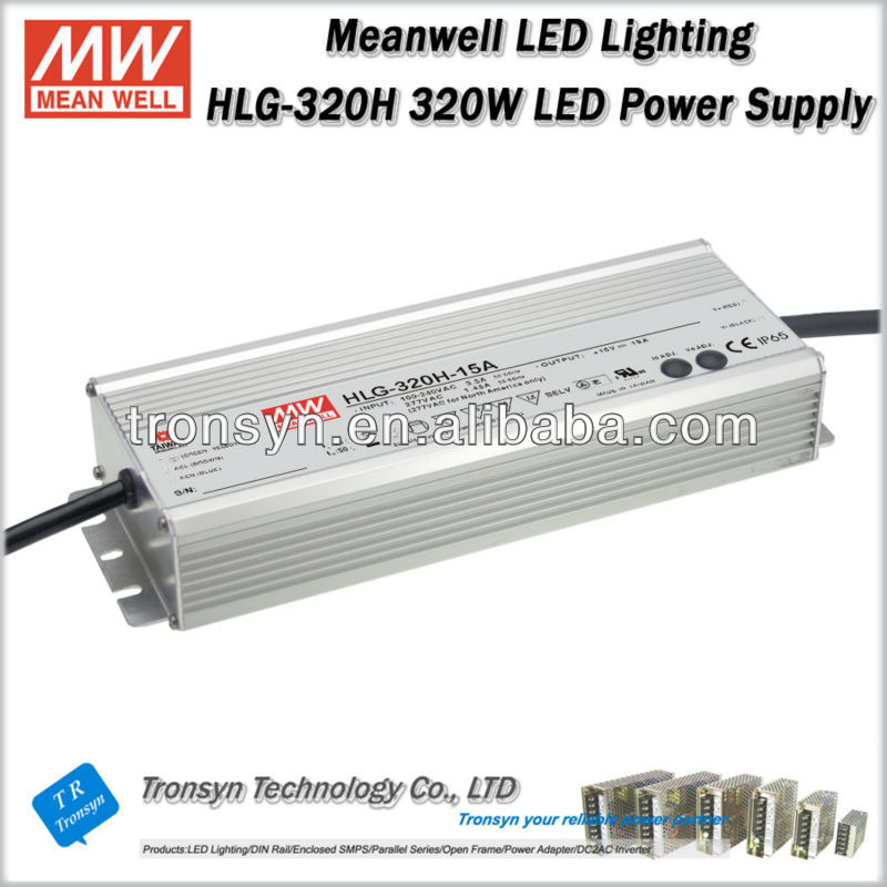 Meanwell HLG-320H-24 (320W 24V 13.34A) 320W 24V Single Output Switching Waterproof LED Power Supply,Dimmable LED Power Supply