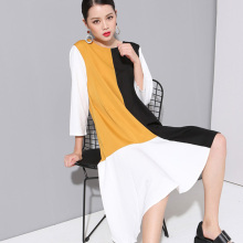 2017 Korea Fashion New Spell Color Big Size Women Loog Sleeve Dress Female Irregular Hem Dress 800280