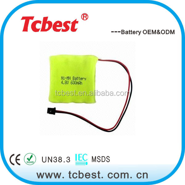 OEM for 4.8v 600mah ni-mh aaa battery pack