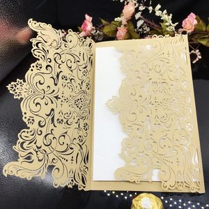 Sweetmade luxury floral gate printable wedding invitations paper laser cut customized colorful wedding invitation cards