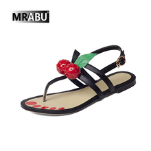 new design summer fashion black red handmade leather flat sandals for girls