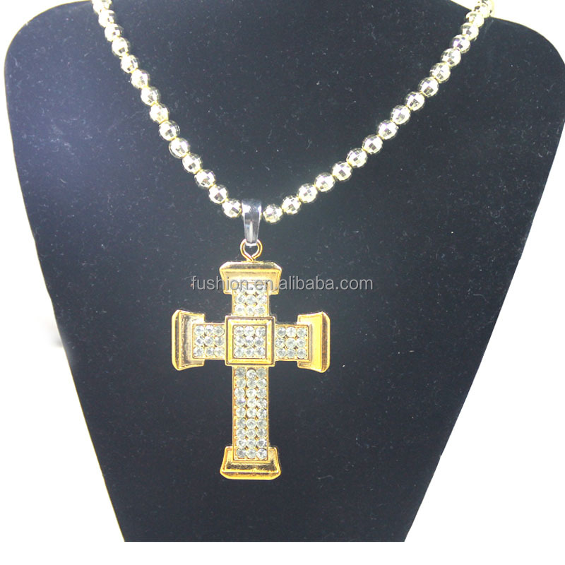 Cheap Plastic Gold Sideways Make Cross Bead Chain Necklace