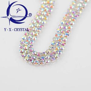 YUXING CRYSTAL Super Hot Silver Base Rhinestones Roll Cup Chain for Wedding  Dress cb9ca37cb505