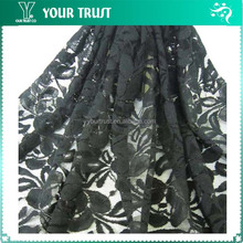 Black Web Lace Moisture Absorbing Nylon/Cotton Fabric