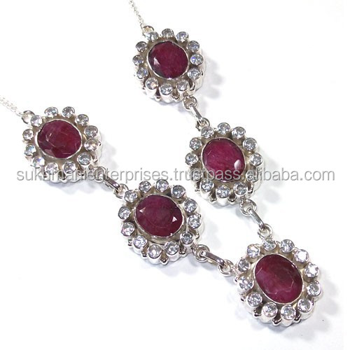 925 silver necklace Indian ruby necklace designs wholesale jewellery