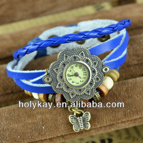 Fashion butterfly pendant wristwatch,Leather watch,Vintage braid learher fancy flower pattern alloy watch case lady watch