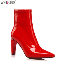 Fetish Women Footwear Strange High Heel Boots Patent Sheepskin Ankle Boots Women Shoes Pointed Rubber Stretch Boots OEM Shoes