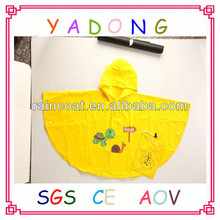 2015 new design wholesale yellow cute child/kids rain poncho/raincoat