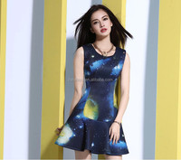high quality Euramerican style woman's Linen / Cotton Material dark blue printing pleated ladies short dress