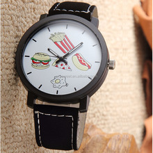 Hamburger fries Eggs Cute food patterns black/white face couple matching watches jewelry(pw122)