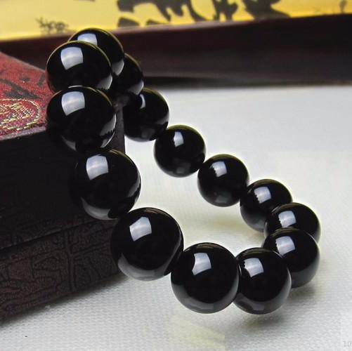Wholesale 14mm High Quality Genuine Onyx Beaded Bracelet Bangle Classical Rosary Beads