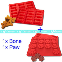 Best 2Pack Food Grade Large Mats Trays, Puppy Pets Dog Paws & Bones Silicone Baking Molds, Bake Dog Treats For Pets, Kids, Dog
