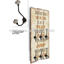 Europe style wood wall plaque with hooks & sayings