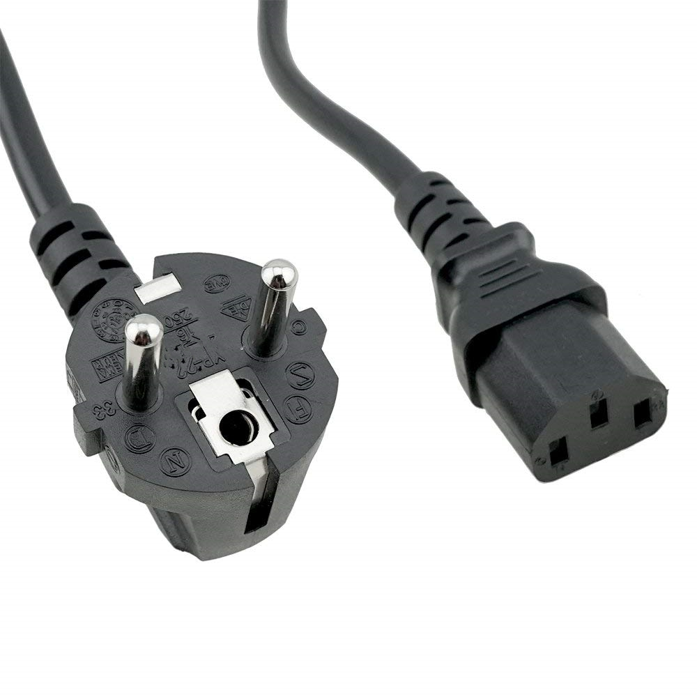 CEE7/7 European plug to IEC C13 with <strong>H05VV</strong>-<strong>F</strong> 1.0mm2 black wire 6 feet CEE7/7 to C13 mains power lead CEE7/7 to C13 mains cable