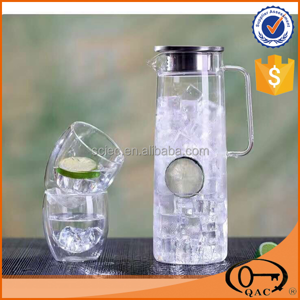 1.5L ice tea jug glass water jug with two double cup