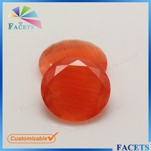 FACETS GEMS Orange Cat Eye Stone Round Flat Cut Cheap Glass Beads